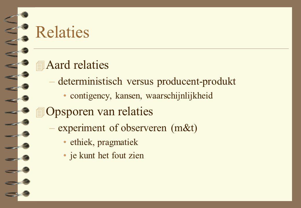 Relaties 4 Aard relaties –deterministisch versus producent-produkt contigency, kansen, waarschijnlijkheid 4 Opsporen van relaties –experiment of obser