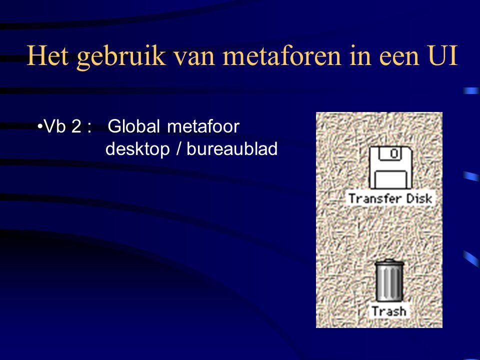 Het gebruik van metaforen in een UI Vb 2 : Global metafoor desktop / bureaublad
