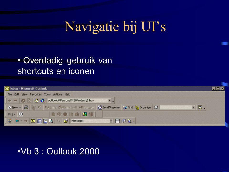 Navigatie bij UI's Overdadig gebruik van shortcuts en iconen Vb 3 : Outlook 2000