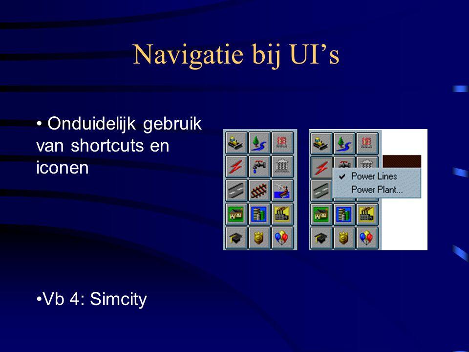 Navigatie bij UI's Onduidelijk gebruik van shortcuts en iconen Vb 4: Simcity