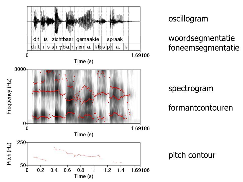 woordsegmentatie foneemsegmentatie spectrogram formantcontouren pitch contour