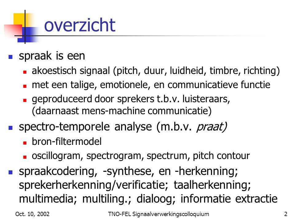 Oct. 10, 2002TNO-FEL Signaalverwerkingscolloquium2 overzicht spraak is een akoestisch signaal (pitch, duur, luidheid, timbre, richting) met een talige