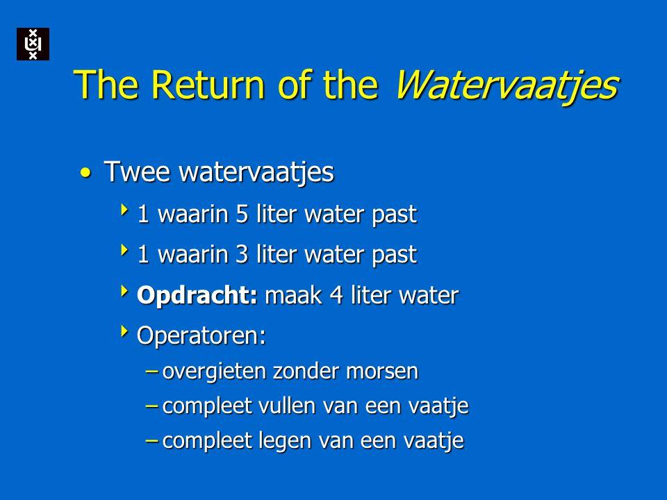 The Return of the Watervaatjes Twee watervaatjesTwee watervaatjes  1 waarin 5 liter water past  1 waarin 3 liter water past  Opdracht: maak 4 liter water  Operatoren: –overgieten zonder morsen –compleet vullen van een vaatje –compleet legen van een vaatje