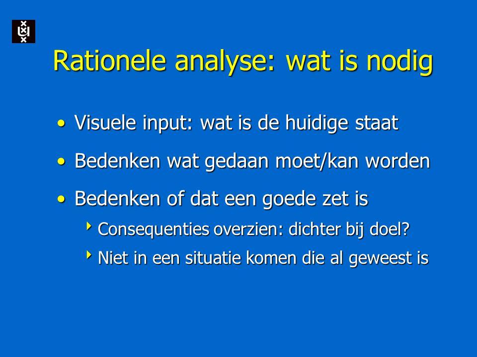 Rationele analyse: wat is nodig Visuele input: wat is de huidige staatVisuele input: wat is de huidige staat Bedenken wat gedaan moet/kan wordenBedenken wat gedaan moet/kan worden Bedenken of dat een goede zet isBedenken of dat een goede zet is  Consequenties overzien: dichter bij doel.
