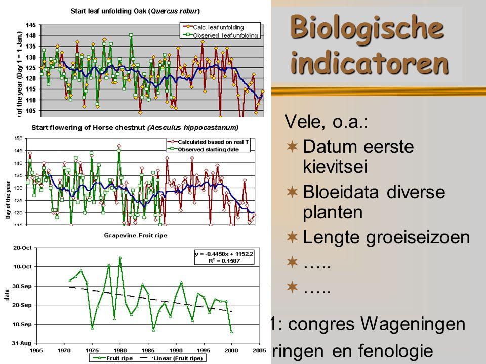 December 2001: congres Wageningen Klimaatveranderingen en fenologie Biologische indicatoren Vele, o.a.:  Datum eerste kievitsei  Bloeidata diverse planten  Lengte groeiseizoen  …..