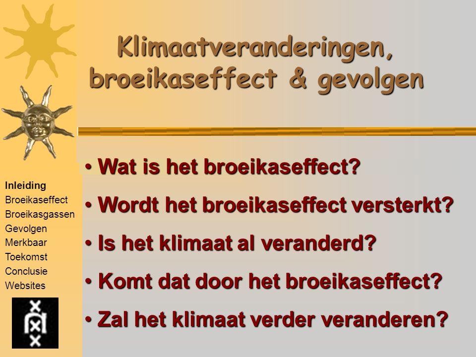 Inleiding Broeikaseffect Broeikasgassen Gevolgen Merkbaar Toekomst Conclusie Websites Klimaatveranderingen, broeikaseffect & gevolgen Wat is het broei