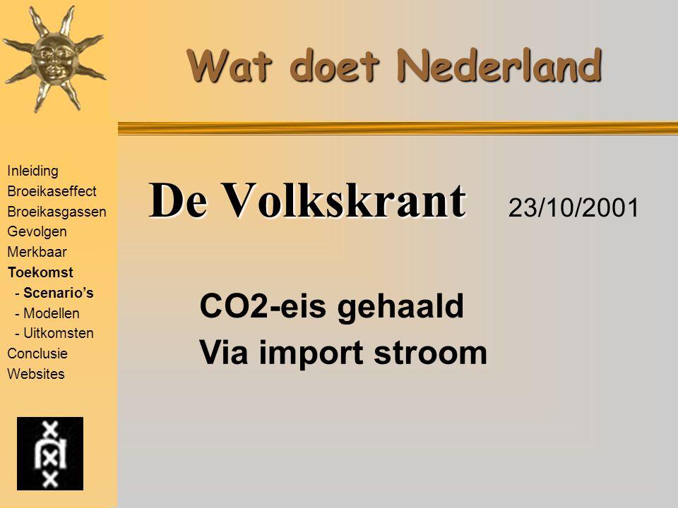 Wat doet Nederland De Volkskrant De Volkskrant 23/10/2001 CO2-eis gehaald Via import stroom Inleiding Broeikaseffect Broeikasgassen Gevolgen Merkbaar
