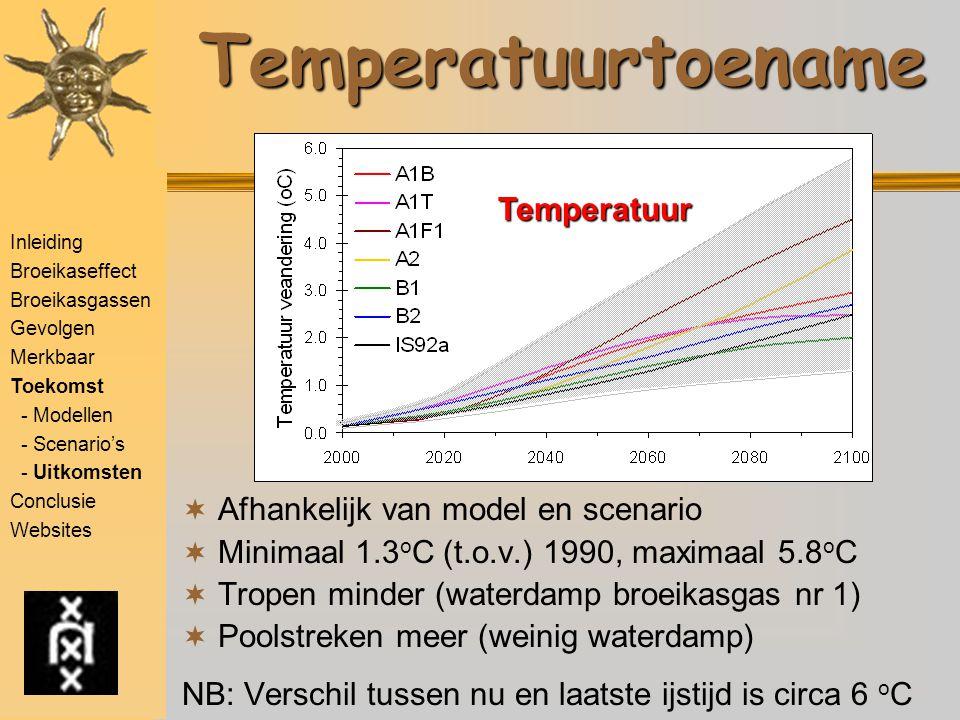 Inleiding Broeikaseffect Broeikasgassen Gevolgen Merkbaar Toekomst - Modellen - Scenario's - Uitkomsten Conclusie WebsitesTemperatuurtoename  Afhankelijk van model en scenario  Minimaal 1.3 o C (t.o.v.) 1990, maximaal 5.8 o C  Tropen minder (waterdamp broeikasgas nr 1)  Poolstreken meer (weinig waterdamp) NB: Verschil tussen nu en laatste ijstijd is circa 6 o C Temperatuur