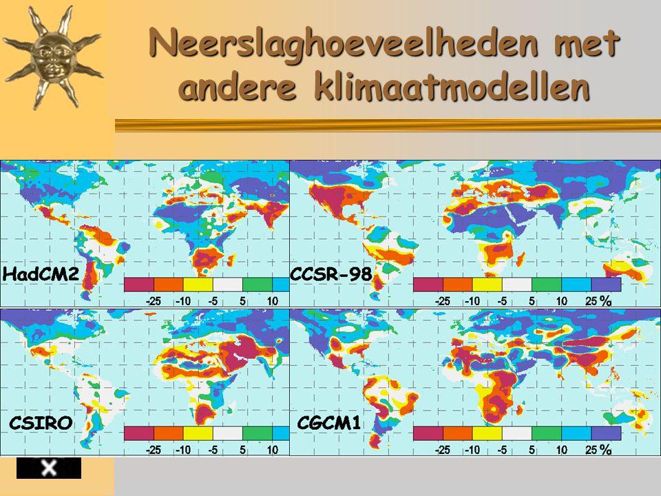 Inleiding Broeikaseffect Broeikasgassen Gevolgen Merkbaar Toekomst - Modellen - Scenario's - Uitkomsten Conclusie Websites Neerslaghoeveelheden met andere klimaatmodellen