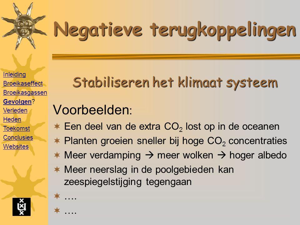 Negatieve terugkoppelingen Voorbeelden :  Een deel van de extra CO 2 lost op in de oceanen  Planten groeien sneller bij hoge CO 2 concentraties  Meer verdamping  meer wolken  hoger albedo  Meer neerslag in de poolgebieden kan zeespiegelstijging tegengaan  ….