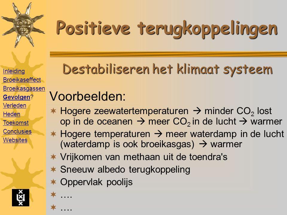Positieve terugkoppelingen Voorbeelden:  Hogere zeewatertemperaturen  minder CO 2 lost op in de oceanen  meer CO 2 in de lucht  warmer  Hogere temperaturen  meer waterdamp in de lucht (waterdamp is ook broeikasgas)  warmer  Vrijkomen van methaan uit de toendra s  Sneeuw albedo terugkoppeling  Oppervlak poolijs  ….