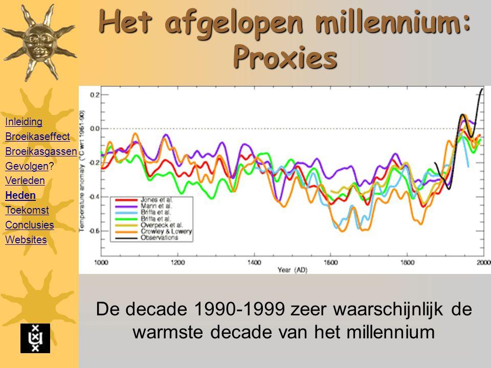 Het afgelopen millennium: Proxies De decade 1990-1999 zeer waarschijnlijk de warmste decade van het millennium Inleiding Broeikaseffect Broeikasgassen GevolgenGevolgen.