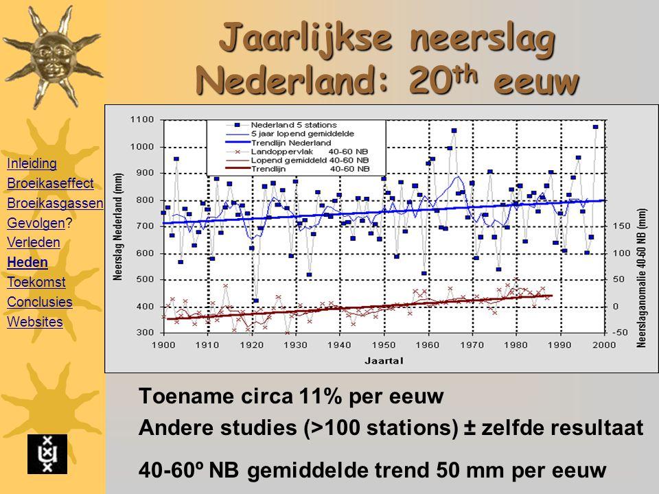 Jaarlijkse neerslag Nederland: 20 th eeuw Toename circa 11% per eeuw Andere studies (>100 stations) ± zelfde resultaat 40-60º NB gemiddelde trend 50 mm per eeuw Inleiding Broeikaseffect Broeikasgassen GevolgenGevolgen.