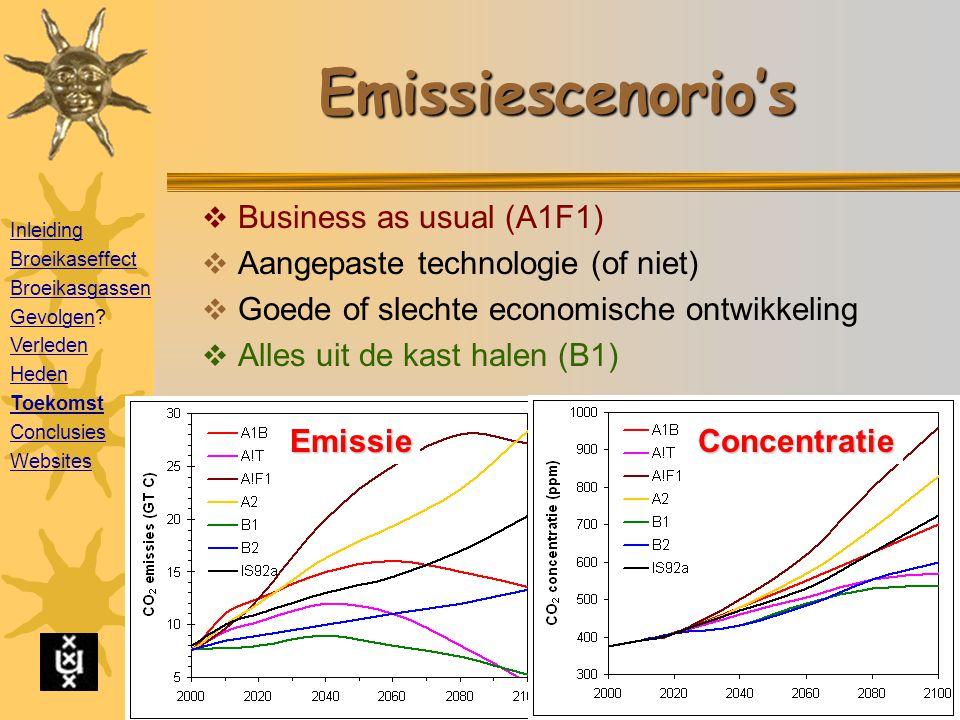 Emissiescenorio's  Business as usual (A1F1)  Aangepaste technologie (of niet)  Goede of slechte economische ontwikkeling  Alles uit de kast halen (B1) Emissie Concentratie Inleiding Broeikaseffect Broeikasgassen GevolgenGevolgen.