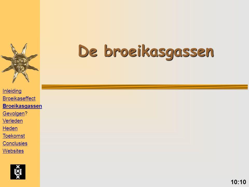 De broeikasgassen 10:10 Inleiding Broeikaseffect Broeikasgassen GevolgenGevolgen.