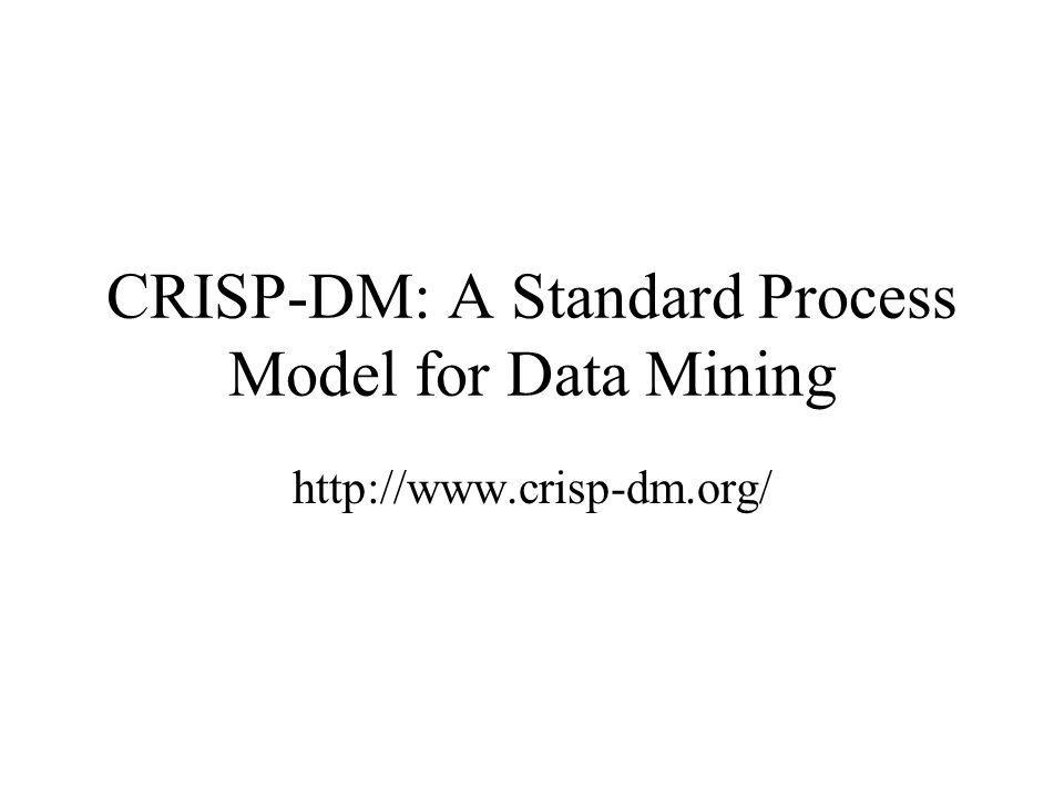 CRISP-DM: A Standard Process Model for Data Mining http://www.crisp-dm.org/