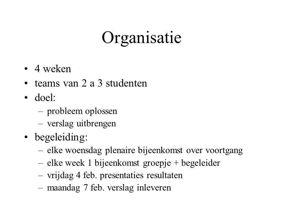 Organisatie 4 weken teams van 2 a 3 studenten doel: –probleem oplossen –verslag uitbrengen begeleiding: –elke woensdag plenaire bijeenkomst over voort