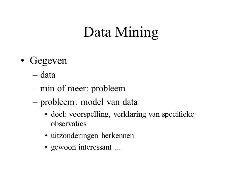Data Mining Gegeven –data –min of meer: probleem –probleem: model van data doel: voorspelling, verklaring van specifieke observaties uitzonderingen he