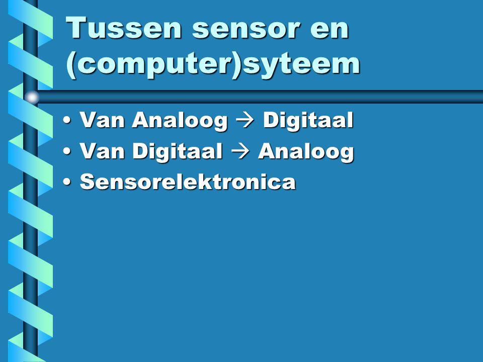 Tussen sensor en (computer)syteem Van Analoog  DigitaalVan Analoog  Digitaal Van Digitaal  AnaloogVan Digitaal  Analoog SensorelektronicaSensorele