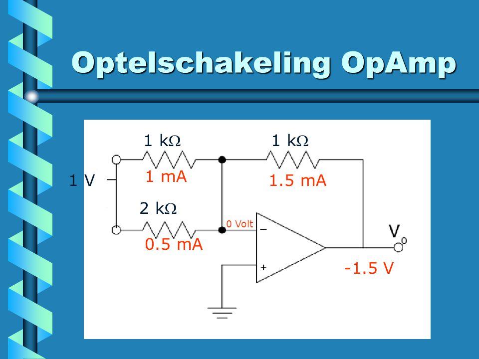Optelschakeling OpAmp 2 k 1 k 1 V 1 mA 0.5 mA 1.5 mA -1.5 V 0 Volt
