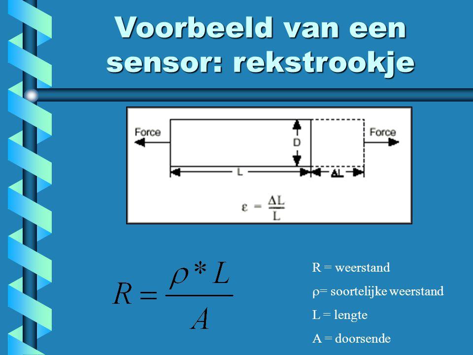 R = weerstand  = soortelijke weerstand L = lengte A = doorsende Voorbeeld van een sensor: rekstrookje