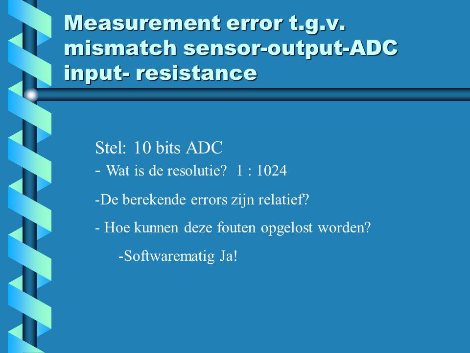 Measurement error t.g.v. mismatch sensor-output-ADC input- resistance Stel: 10 bits ADC - Wat is de resolutie? 1 : 1024 -De berekende errors zijn rela
