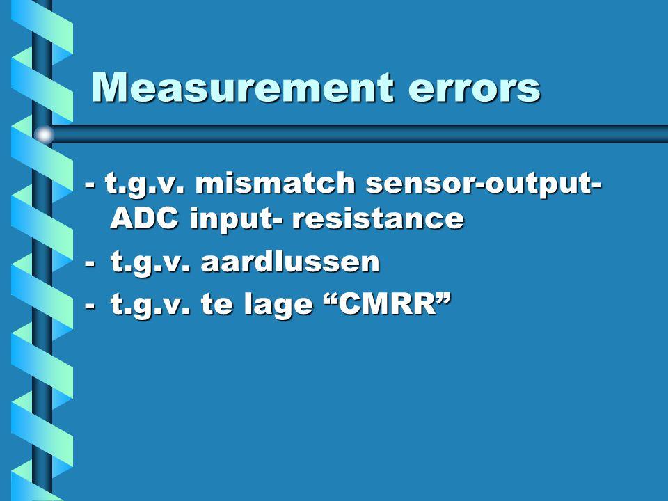 """Measurement errors - t.g.v. mismatch sensor-output- ADC input- resistance -t.g.v. aardlussen -t.g.v. te lage """"CMRR"""""""