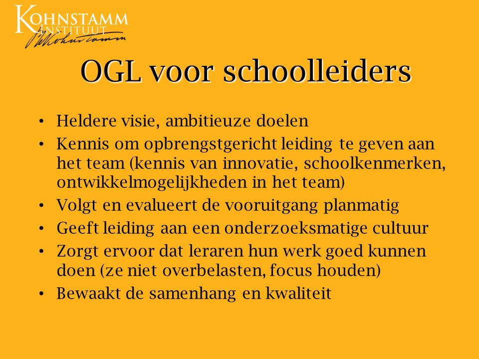 OGL voor schoolleiders Heldere visie, ambitieuze doelen Kennis om opbrengstgericht leiding te geven aan het team (kennis van innovatie, schoolkenmerke