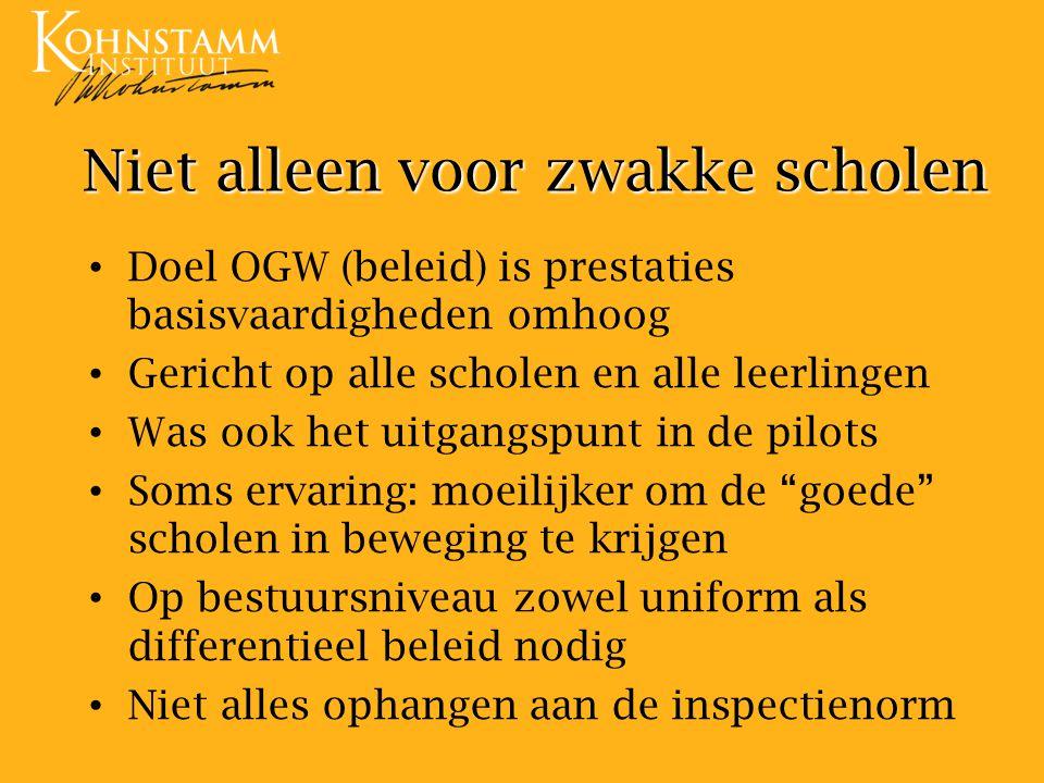Niet alleen voor zwakke scholen Doel OGW (beleid) is prestaties basisvaardigheden omhoog Gericht op alle scholen en alle leerlingen Was ook het uitgan