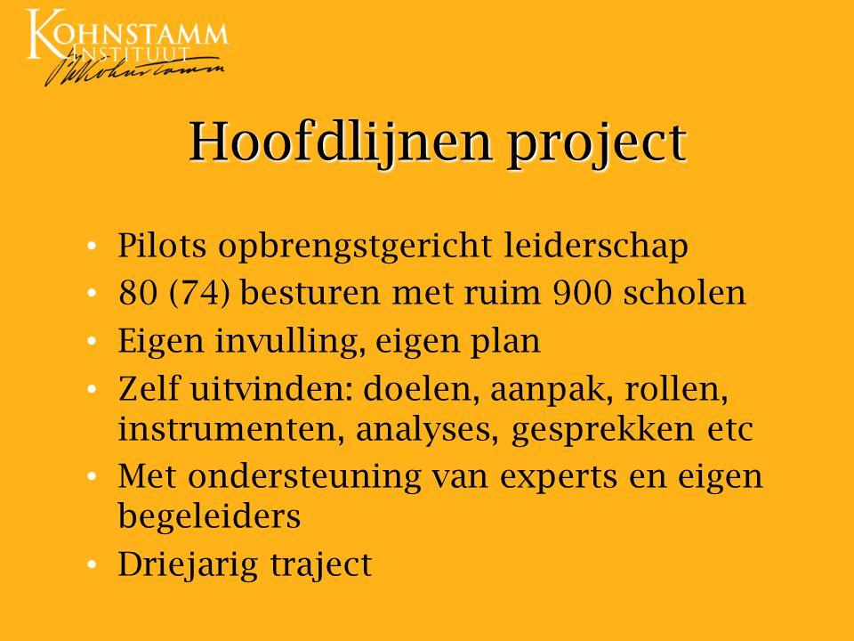 Hoofdlijnen project Pilots opbrengstgericht leiderschap 80 (74) besturen met ruim 900 scholen Eigen invulling, eigen plan Zelf uitvinden: doelen, aanp