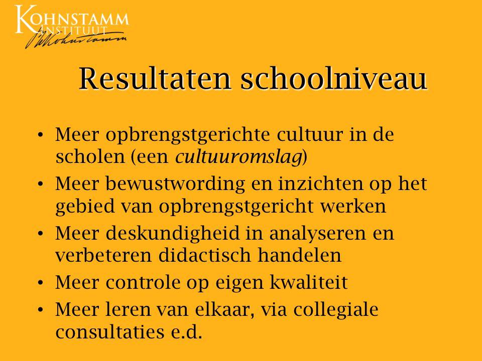 Resultaten schoolniveau Meer opbrengstgerichte cultuur in de scholen (een cultuuromslag) Meer bewustwording en inzichten op het gebied van opbrengstge