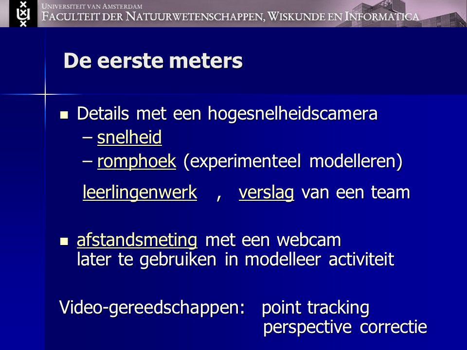 Modellen van sprinten gebaseerd op de 2e wet van Newton Keller modelKeller model: v' = F – v/ , v(0) = 0 (leerling data) Exacte oplossing: v (t ) = F  ( 1 – exp(-t/  ) ) Tibshirani-modelTibshirani-model: v' = F – c t – v/ , v(0) = 0 Keller model met aerodynamicaKeller model met aerodynamica (Carl Lewis data): v' = F – v/  - c (v – w) 2, v(0) = 0 Alle modellen: a (t ) = F voortstuwing (t ) – F weerstand (t )