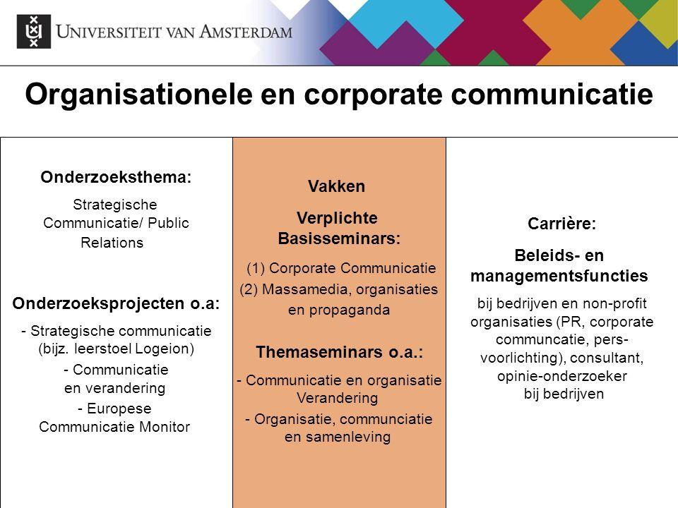 Organisationele en corporate communicatie Onderzoeksthema: Strategische Communicatie/ Public Relations Onderzoeksprojecten o.a: - Strategische communi
