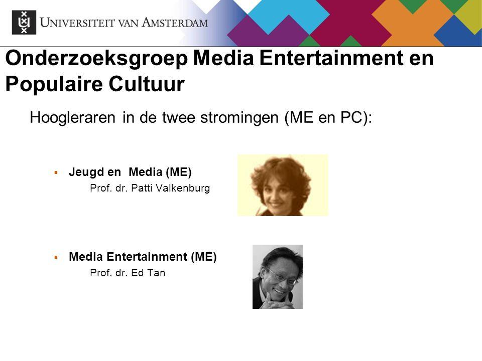 Onderzoeksgroep Media Entertainment en Populaire Cultuur Hoogleraren in de twee stromingen (ME en PC):  Jeugd en Media (ME) Prof. dr. Patti Valkenbur