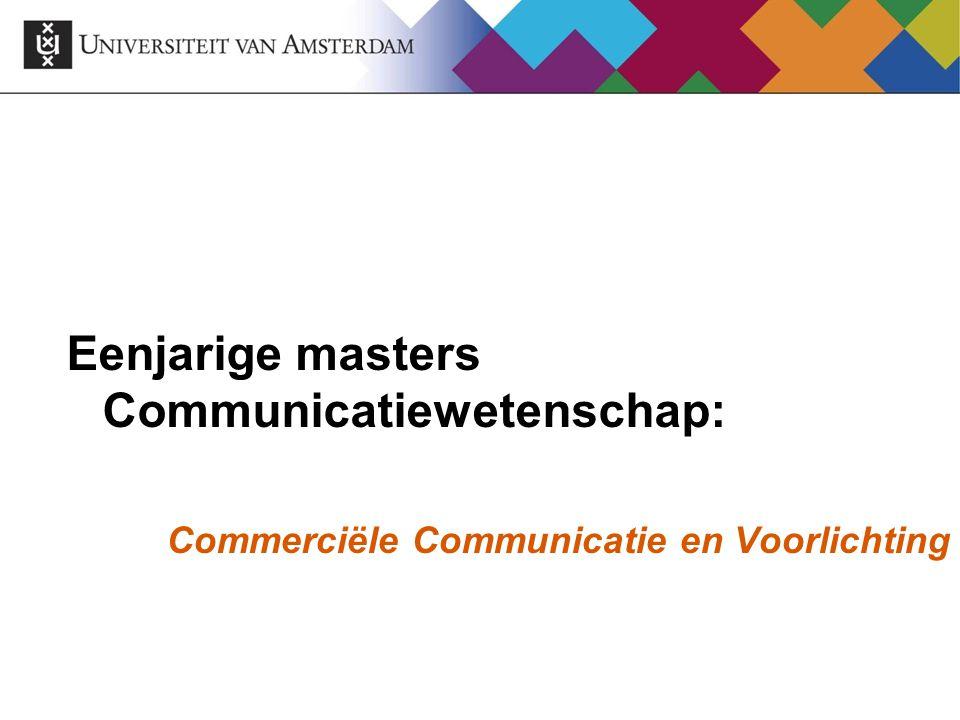 Eenjarige masters Communicatiewetenschap: Commerciële Communicatie en Voorlichting