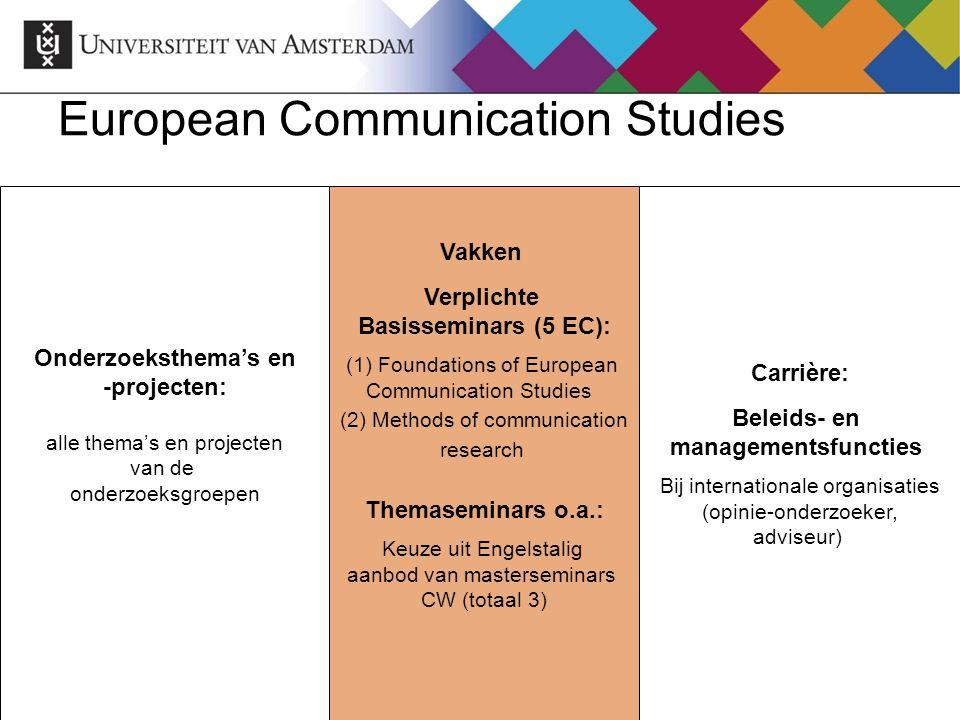 European Communication Studies Onderzoeksthema's en -projecten: alle thema's en projecten van de onderzoeksgroepen Vakken Verplichte Basisseminars (5