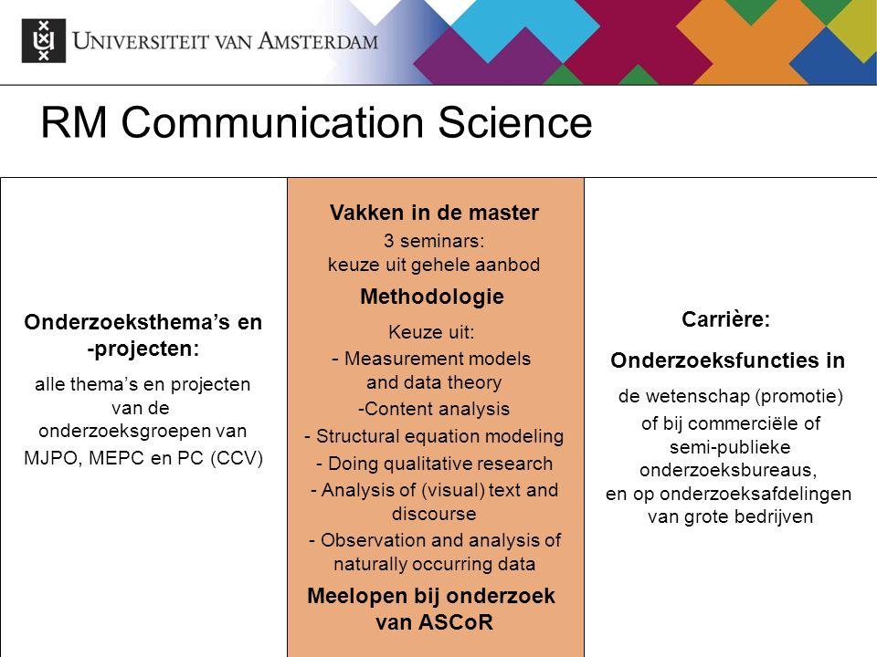 RM Communication Science Onderzoeksthema's en -projecten: alle thema's en projecten van de onderzoeksgroepen van MJPO, MEPC en PC (CCV) Vakken in de m