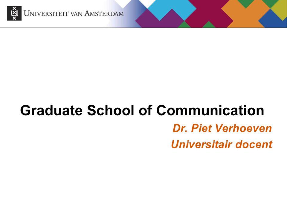 Graduate School of Communication Vanaf 2008-2009 aan de UvA:  College of Communication (bacheloropleiding)  Graduate School of Communication (master en promotie-opleidingen) Onderdeel van Media en Communicatie Instituut van afdeling Communicatiewetenschap UvA