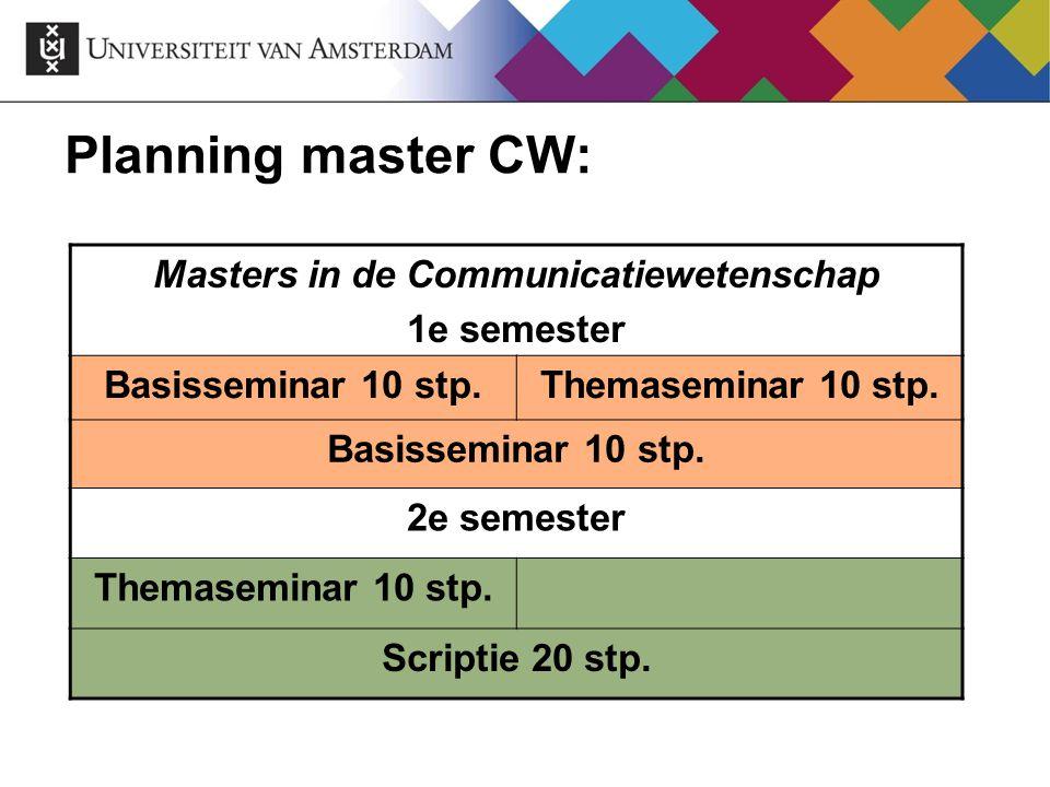Planning master CW: Masters in de Communicatiewetenschap 1e semester Basisseminar 10 stp.Themaseminar 10 stp. Basisseminar 10 stp. 2e semester Themase