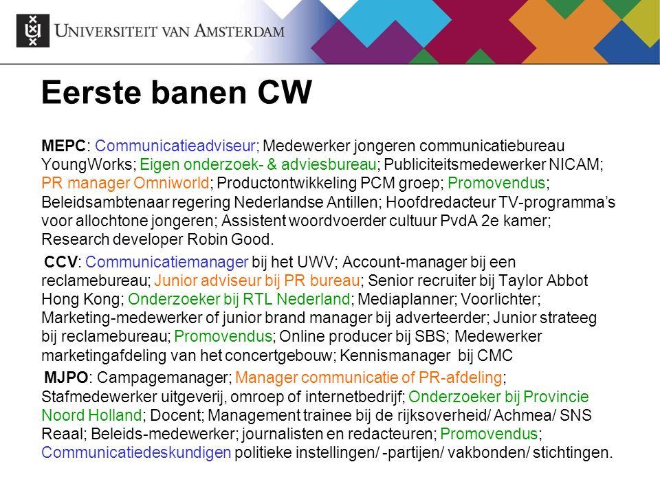 Eerste banen CW MEPC: Communicatieadviseur; Medewerker jongeren communicatiebureau YoungWorks; Eigen onderzoek- & adviesbureau; Publiciteitsmedewerker