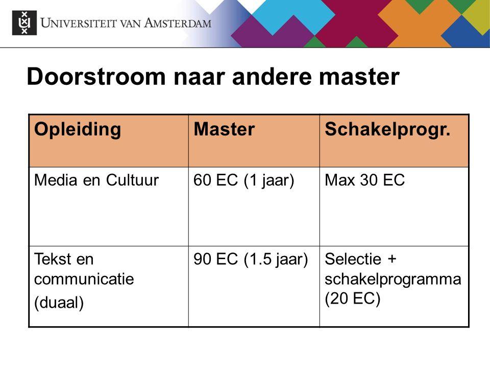 OpleidingMasterSchakelprogr. Media en Cultuur60 EC (1 jaar)Max 30 EC Tekst en communicatie (duaal) 90 EC (1.5 jaar)Selectie + schakelprogramma (20 EC)