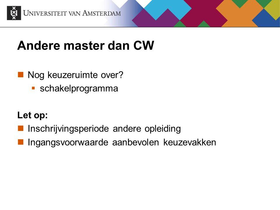 Andere master dan CW Nog keuzeruimte over?  schakelprogramma Let op: Inschrijvingsperiode andere opleiding Ingangsvoorwaarde aanbevolen keuzevakken