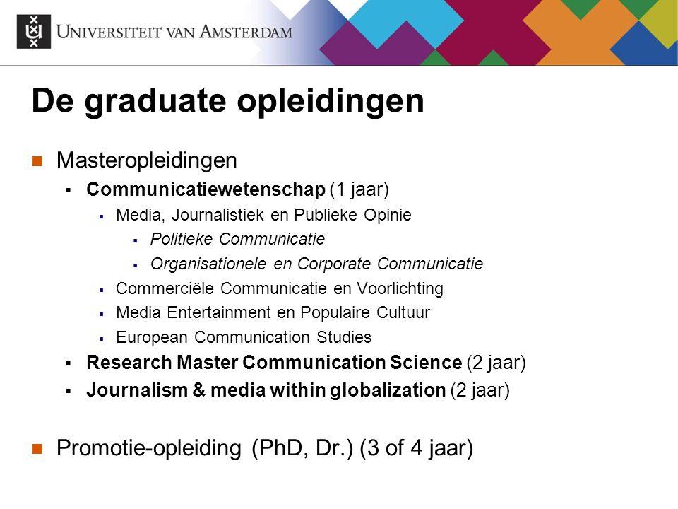 De graduate opleidingen Masteropleidingen  Communicatiewetenschap (1 jaar)  Media, Journalistiek en Publieke Opinie  Politieke Communicatie  Organ