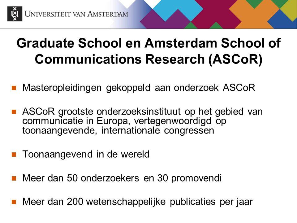 Graduate School en Amsterdam School of Communications Research (ASCoR) Masteropleidingen gekoppeld aan onderzoek ASCoR ASCoR grootste onderzoeksinstit