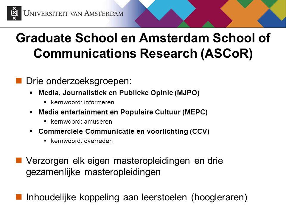 Graduate School en Amsterdam School of Communications Research (ASCoR) Drie onderzoeksgroepen:  Media, Journalistiek en Publieke Opinie (MJPO)  kern