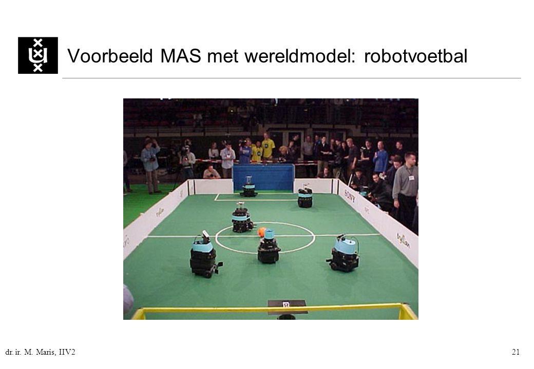 dr. ir. M. Maris, IIV221 Voorbeeld MAS met wereldmodel: robotvoetbal