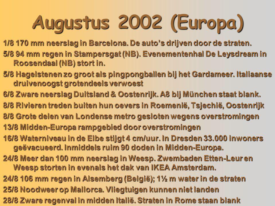 Augustus 2002 (Europa) 05/08/02 Italië 13/08/02 Tsjechië 24/08/02 Etten-Leur 1/8 170 mm neerslag in Barcelona. De auto's drijven door de straten. 5/8