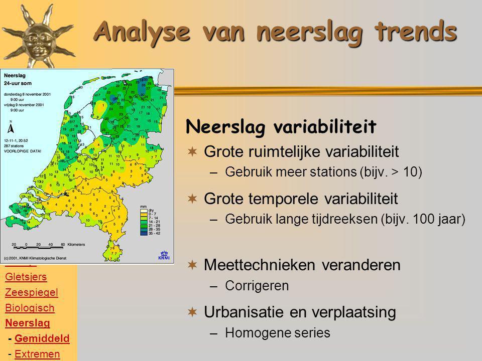 Temperatuur Poolijs Gletsjers Zeespiegel Biologisch Neerslag - GemiddeldGemiddeld - ExtremenExtremen Analyse van neerslag trends Neerslag variabilitei