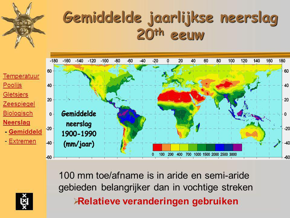 Gemiddelde jaarlijkse neerslag 20 th eeuw 100 mm toe/afname is in aride en semi-aride gebieden belangrijker dan in vochtige streken  Relatieve verand
