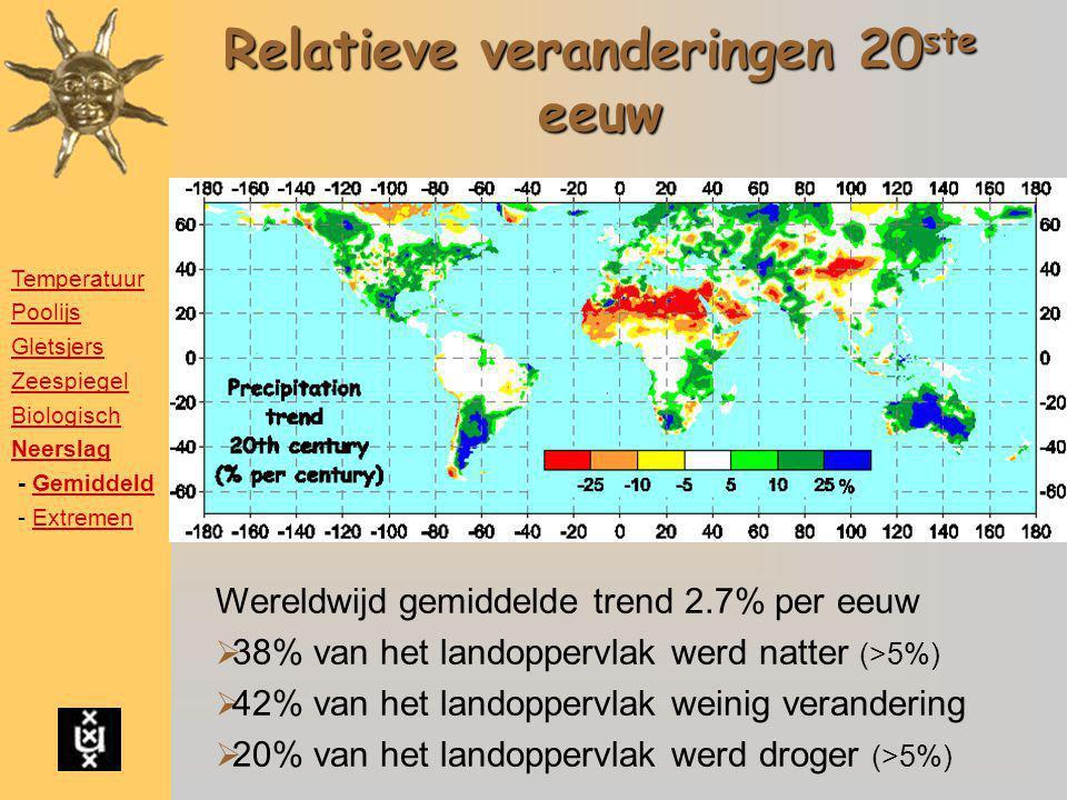Relatieve veranderingen 20 ste eeuw Wereldwijd gemiddelde trend 2.7% per eeuw  38% van het landoppervlak werd natter (>5%)  42% van het landoppervla